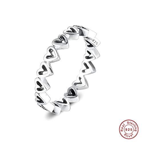 MOCCI 2020 Valentinstag Geschenk Freihand Herzen Ring für Frauen 925 Silber DIY Passend für Original Pandora Armbänder Charme Modeschmuck (54 #)