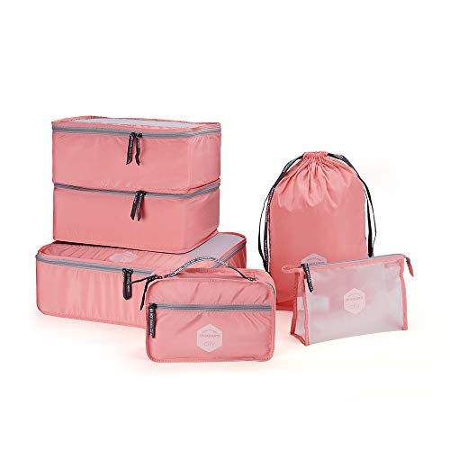 6 PCS Travel Packing Cube Luggage Set Carry-on Travel Organizer (Pink)