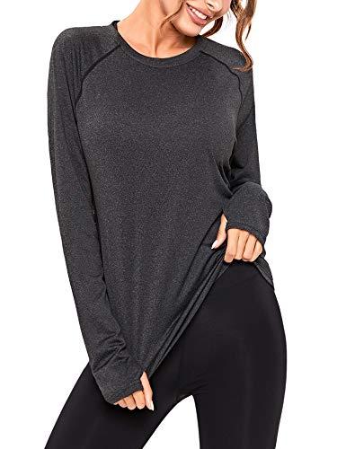 Sykooria Camiseta Deportiva Mujer de Manga Larga Sin Costuras Sudaderas Fitness Transpirable Suave Ropa Deportiva para Mujer Invierno