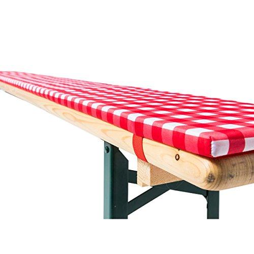 Gräfenstayn® Annabelle Biertischauflagen-Set mit Sitzpolsterung 3 TLG für Bierzeltgarnitur - 70cm oder 50cm Tischbreite - Öko-Tex Siegel Standard 100: