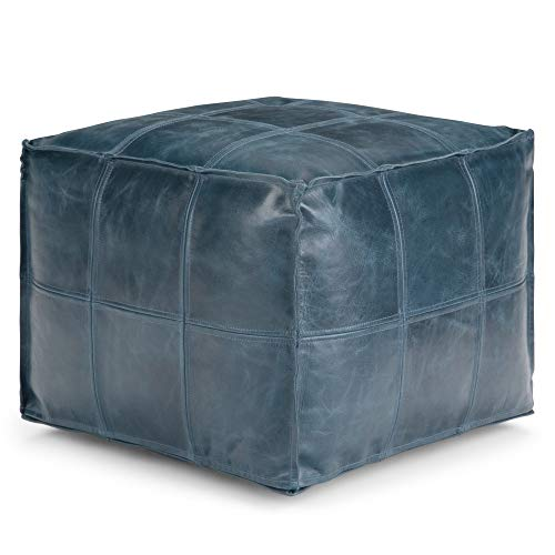 Simpli Home Manning Square Pouf, Footstool, Upholstered in Teal Leather, for the Living Room, Bedroom and Kids Room, Contemporary, Modern