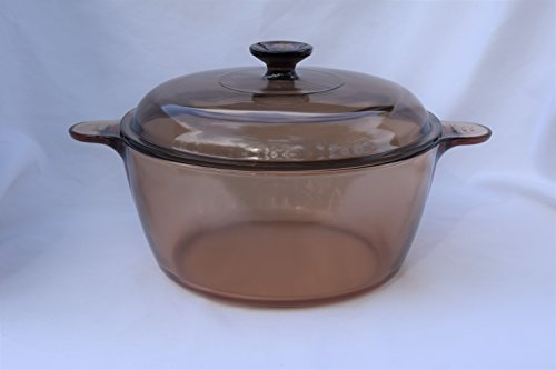 """Vintage Corning Ware Pyrex VISION Visions Visionware AMBER ALL GLASS 4.75 Quart/4.5 Litre 10 1/2"""" inch SAUCEPAN DUTCH OVEN ROASTER PAN + Cover/Lid stamped MADE IN USA"""