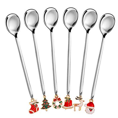 AXspeed - Set di 6 cucchiaini natalizi in acciaio inox, con ciondolo natalizio per caffè, cucchiaio, cucchiaio, cucchiaio, cucchiaino da dessert, confezione regalo (argento)