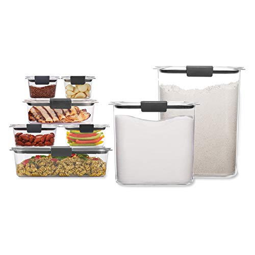 Rubbermaid Brilliance Storage 16-Piece Plastic Lids|BPA Free, Leak Proof Food Container | For Fridge and Pantry, Clear