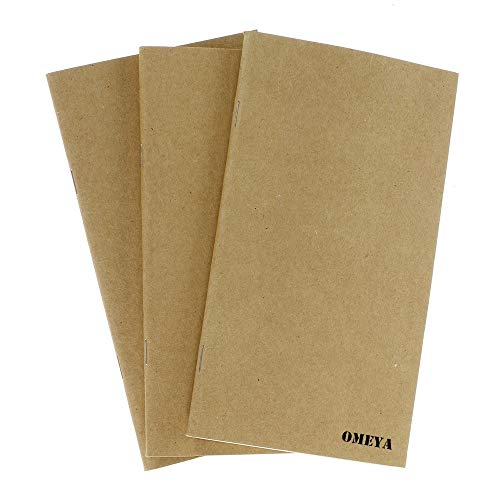 Travelers Notebook Inserts, Journal Refills Lined Craft and Blank Paper Set of 3 for Leather Journal, 7.5 x 4.1 inch,240 Pages