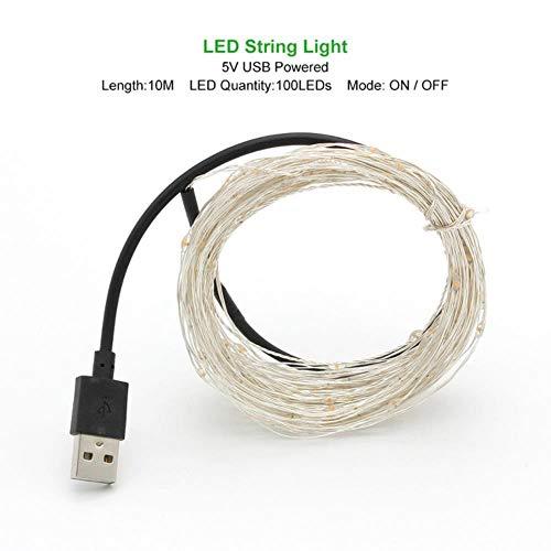 1 mt 2 mt 3 mt 5 mt 10 mt koperdraad LED lichtketting vakantie verlichting fee slinger voor kerstboom bruiloft decoratie, geel, 10 m powered by USB