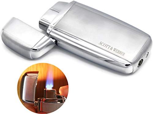 Scott & Webber ® Feuerzeug Gas Sturmfeuerzeug Silber 100% Metall mit windfester Jetflamme/Pfeife, Zigarette, Zigarre/Gasfeuerzeug/Nachfüllbar, Einstellbar/bis 1300°C #SMART #Easy #ELEGANT