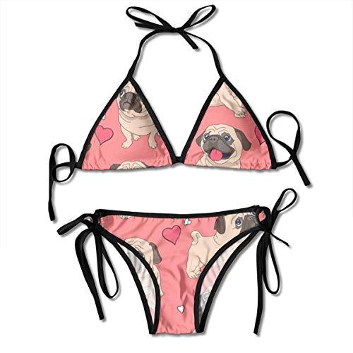 Frauen Yoga Herz Mops Zweiteiler Badeanzug Bad Frauen Top Bikini Set Badeanzug