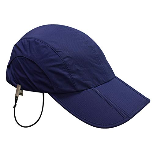 Sailing Cap Waterproof Breathable Fishing Hats for Men Women Technical UV Outdoor Sun Protection Packable (Navy(Foldable))