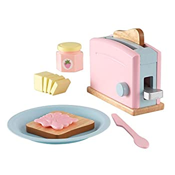 KidKraft Wooden Toaster Playset with 8 Pieces and Working Handle Play Kitchen Toy - Pastel Gift for Ages 3+
