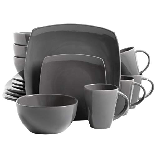 Gibson Soho Lounge 16-Piece Square Reactive Glaze Dinnerware Set, Grey - 97558.16RM