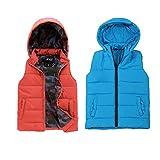 SNOW DREAMS Boys Puffer Vest Hooded Quilted Outwear Sleeveless Jacket Waistcoat 2 Pcs Size 4 Orange Blue2