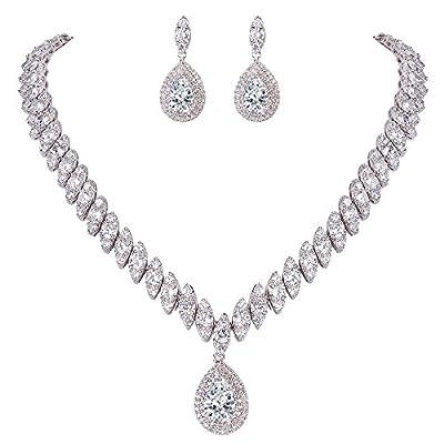 EVER FAITH Women's CZ Marquise-Shaped Leaf Teardrop Pendant Necklace Earrings Set Clear Silver-Tone