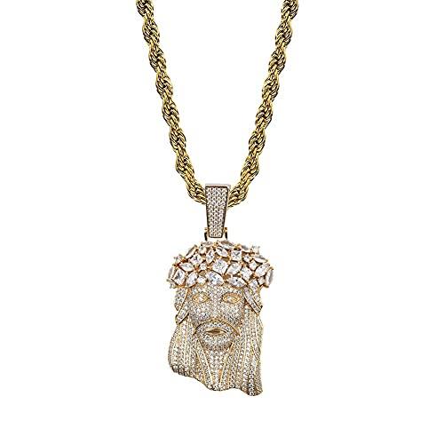HMMJ Collar de Hip Hop con Colgante de circón Completo de Jesús Grande Unisex P19040016 (Color : Gold, Size : 3mm Twist Chain)