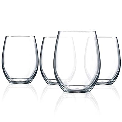 ARC International Cachet 21 Ounce Stemless Wine Glass, Set of 4, 21-Ounce, Clear