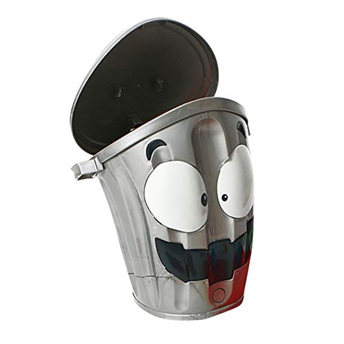 PIGMAMA Abnehmbarer ovaler Mülleimer , Speicher batteriebetriebene Puzzle Mülleimer Smiley , Geeignet für Büro Bad, Küche Müllkorb