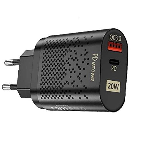 QC3.0 Cargador rápido 20W Adaptador de Corriente USB C PD Enchufe de Pared Cargador con los Puertos duales del teléfono móvil Cargadores Negro