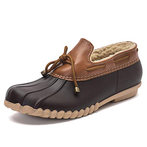DKSUKO Women's Waterpoof Loafer Shoes Slip On Flat Duck Shoes (8 B(M) US, Brown)