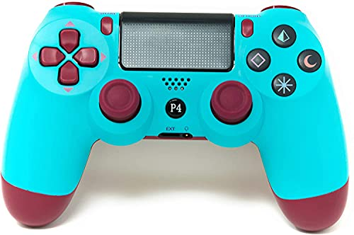 Ps4 Controller Chasdi V2 Wireless Bluetooth with USB Cable Compatible with Sony Playstation 4, Windows PC & Android OS (Berry Blue)