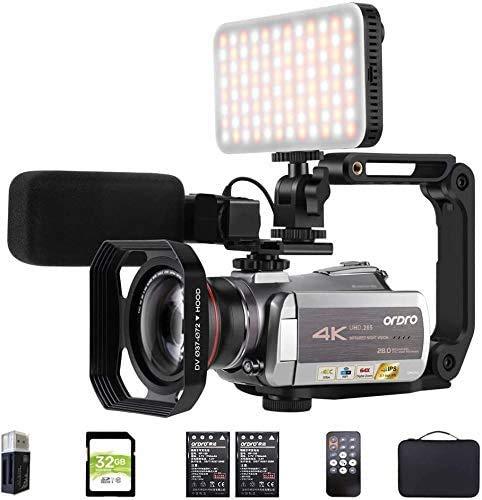 Videocamera 4K ORDRO 4K / 30fps AZ50 Videocamera WiFi IR Visione notturna YouTube Videocamera per vlogging con microfono, luce LED, obiettivo grandangolare, supporto per fotocamera