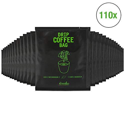 Filterkaffee von emilo - 100% Arabica Kaffee Vorratsbox - Filterbeutel mit gemahlenem Bio Kaffee zum selbst aufbrühen – Frisch gerösteter aroma Kaffee – Drip Coffee Bag BIO NICARAGUA, 110 Stück
