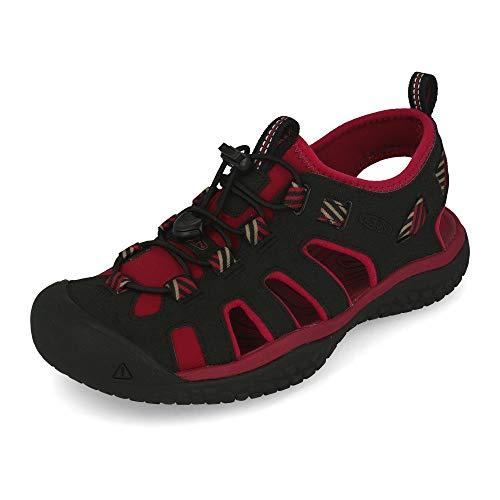 KEEN SOLR Sandal Damen Outdoor-Sandalen,Trekking-Sandalen,Robustes Obermaterial,rutschfeste Sohle,Schnellschnürsystem,Raspberry Wine/Black,43 EU (12 US)