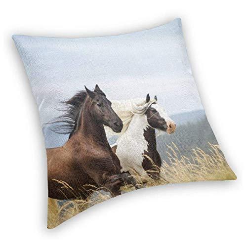 Ahdyr Throw Pillow Horses Running Art Print Velvet Soft Soild Decorativo Cuadrado Fundas de Almohada Fundas de cojín Funda de cojín para sofá, Cama, Silla de Coche