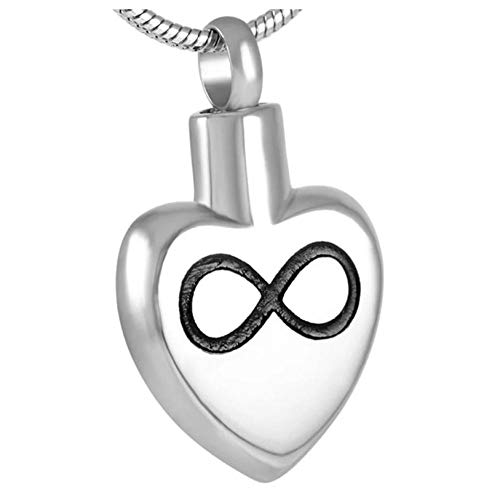 Wxcvz Collar para Cenizas Joyería Conmemorativa De Los Collares Pendientes De La Cremación del Acero Inoxidable del Amor Infinito con El Grabado Libre
