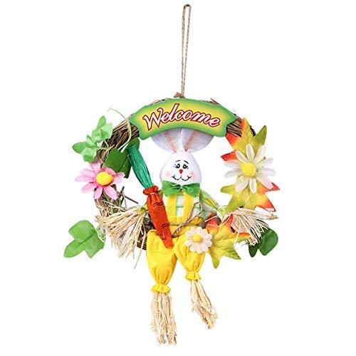 KAUTO 30cm Easter Rabbit Bunny Wreath Artificial Easter Wreath with Bunny and Artificial Flower Ornaments for Door Wall Eatser Decoration