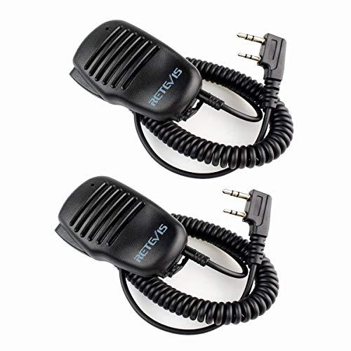 Retevis 2 Pin Funkgerät Lautsprecher Mikrofon Kompatibel mit Walkie Talkie Retevis RT24 RT27 RT21 RT22 RT622 RT81 RT46 RT617 RT618 RT619 RT666 RT668 Baofeng UV-5R BF-888S BF-88E Kenwood(2 STK.)