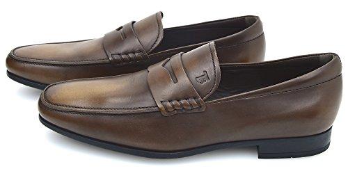 Tod's Herren Mokassins Loafer Klassische Schuhe Dunkelbraun Leder QO00010SADS800 5 (EU 39) Testa Moro - Dark Brown