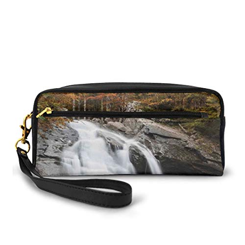 Pencil Case Pen Bag Pouch Stationary,Water Falls to The Lake Through Rocks Surrounded by Fall Trees,Small Makeup Bag Coin Purse