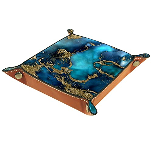 FCZ Dreamy Blue Teal And Gold Marble Texture Leather Valet Tray Bedside Desktop Catchall Storage Organiser Box for Jewelry Key Wallet Coin Candy 20 x 20 cm