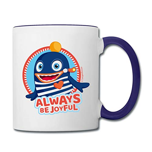 Sorgenfresser Ping Always Be Joyful Tasse zweifarbig, Weiß/Kobaltblau