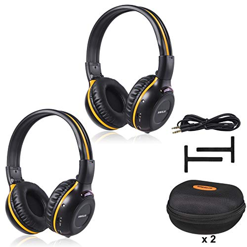 SIMOLIO 2 Pack of IR Wireless Headphones for in-Car TV, DVD, & Video Listening, 2 Channel Car Headphones with EVA Cases, Aux Cord, On-Ear Wireless Cars Headphones, Not Work on 2017+ GM's or Pacifica