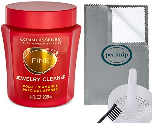 Connoisseurs Jewelry Cleaner for Gold, Diamond, Platinum & Precious Stones, with Cleaning Basket, Brush and Polishing Cloth