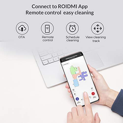ROIDMI Eve Plus Robot Aspirador con Base Autolimpiadora, Potencia de Succión de 2700 Pa, Barre y Pasa la mopa o Friega, Navegación Inteligente LDS, Control por Aplicación