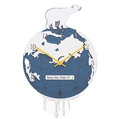 qwertyuio Reloj De Pared Grande Eco Polar Bear Silent Non Ticking Reloj De Pared - Redondo 3D Earth Reloj De Pared Decoración De Pared Creativa para La Vida - Protección del Medio Ambiente