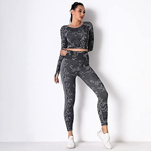 AMAZZY Chándales para Mujer Pantalones sin Costuras Fitness Traje Deportivo de Punto Conjunto de Tops Cortos para Mujer Mujer 2 Piezas Ropa de chándal de Camuflaje S Gris