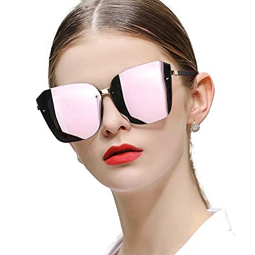Gafas de sol polarizadas de gran tamaño para mujer, estilo vintage, cuadradas, con protección UV400, sin montura, Rosa/Rebel Fun., L