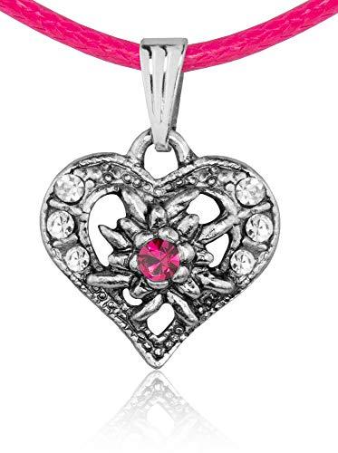 Kinder Trachten Halskette Sira mit Edelweiß Herz - Pink - Zauberhafter Schmuck für Mädchen zu Dirndl und Kleidern