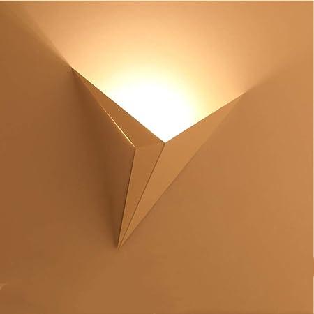 AUA Lampe murale à LED d'intérieur, moderne, applique murale 3 W en métal, triangle, lumière nocturne pour couloir, chambre à coucher, escalier (lumière chaude)