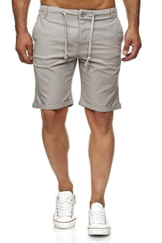 Reslad Leinenhose Kurze Hose Herren Leinen-Shorts lässige Männer Freizeithose Strandhose Stoffhose Sommer-Shorts RS-3002 Hellgrau XL