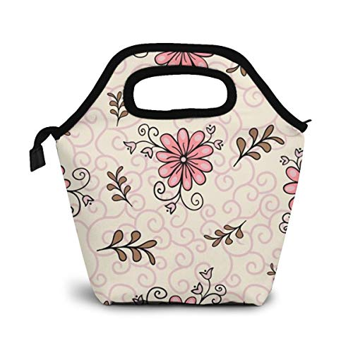 Floral Modern Abstract Bright Colorful Style Leakproof Reusable Insulated Cooler Lunch Bag - Office Work Picnic Hiking Beach Lunch Box Organizer for Women,Men
