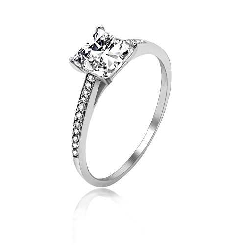 Uloveido Anillo de Compromiso con Diamante simulado de Talla Princesa de Plata de Ley 925 Mujer, Anillos Cuadrados CZ LJ078 (Talla 9)