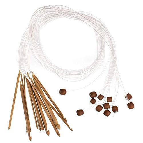 12 Stück Tunesische Bambus Afghanische Häkelnadel verschwelt Bambus Nadel Teppich Extended Crochets Afghan Carbonized Häkelnadeln in Verschiedenen Größen - Kit zum Häkeln vieler Muster und Projekte