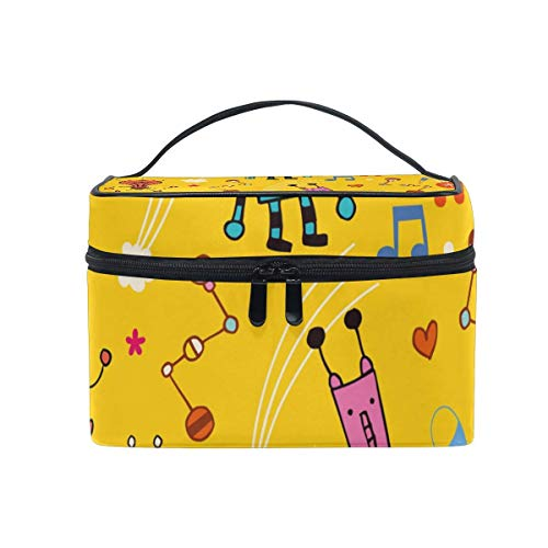 Cartoon Robot Pattern Cosmetic Bag Toiletry Travel Makeup Case Handle Pouch Multi-Function Organizer for Women