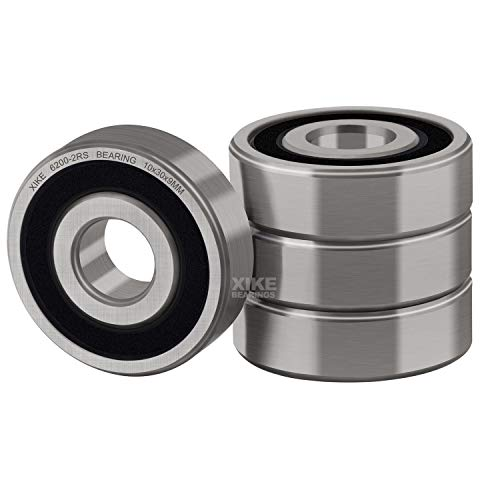 XiKe 4 Pcs 6200-2RS Double Rubber Seal Bearings 10x30x9mm, Pre-Lubricated and Stable Performance and Cost Effective, Deep Groove Ball Bearings.