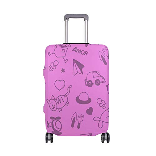 IUBBKI Travel Luggage Cover Children Picture Purple Suitcase Protector FitSch Washable Baggage Covers