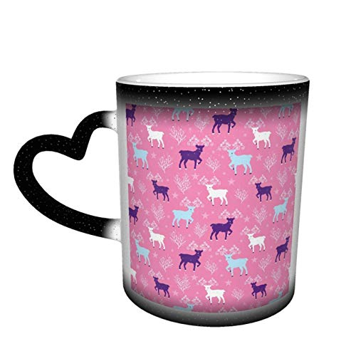 Taza cambiante de reno de invierno rosa Taza de café Diseño Taza de cerámica sensible al calor Taza que cambia de color en el cielo, 11 oz